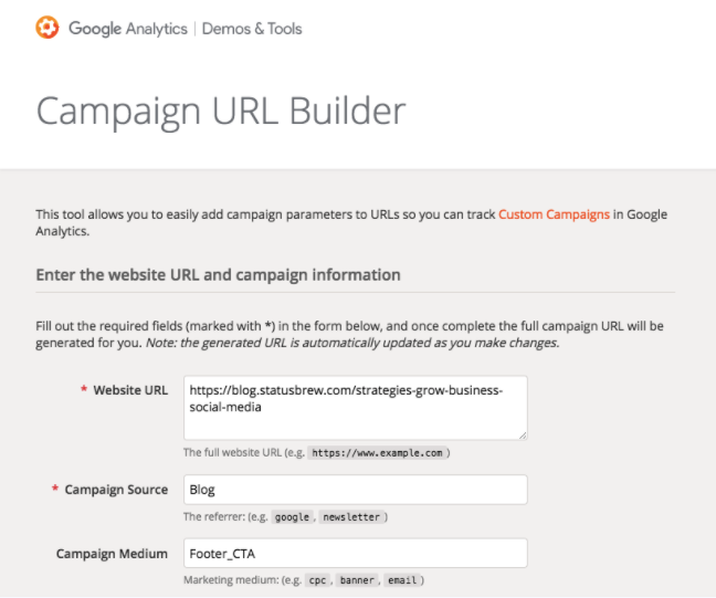 Influencer Marketing: Google Campaign URL Builder