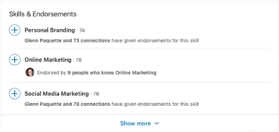Skills and endorsements on LinkedIn