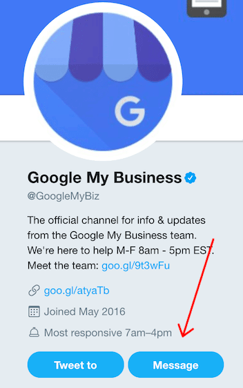 Google My Business Twitter Account