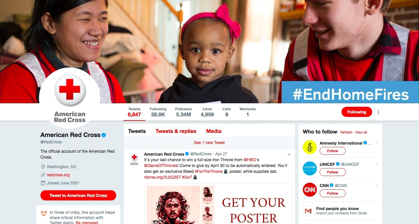 Red Cross Twitter Cover Photo