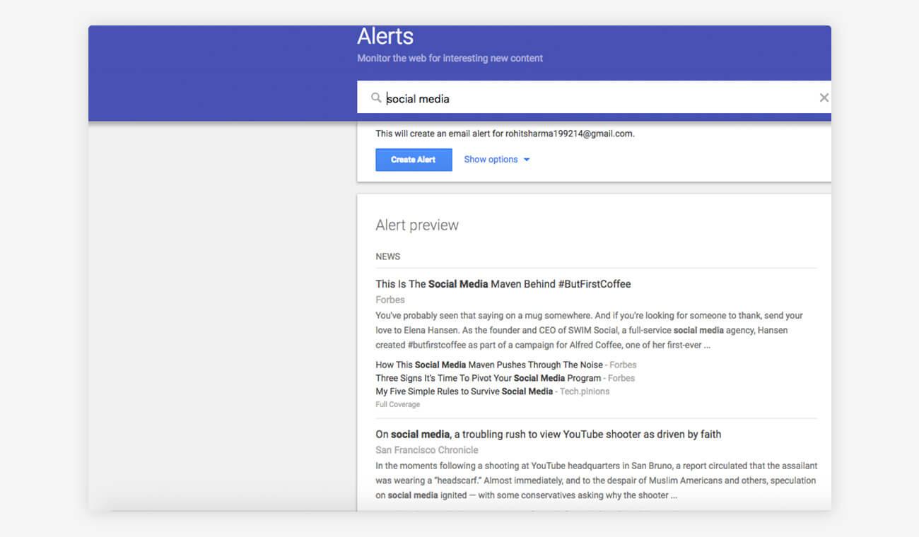 Alerts Social Media Monitoring Tool