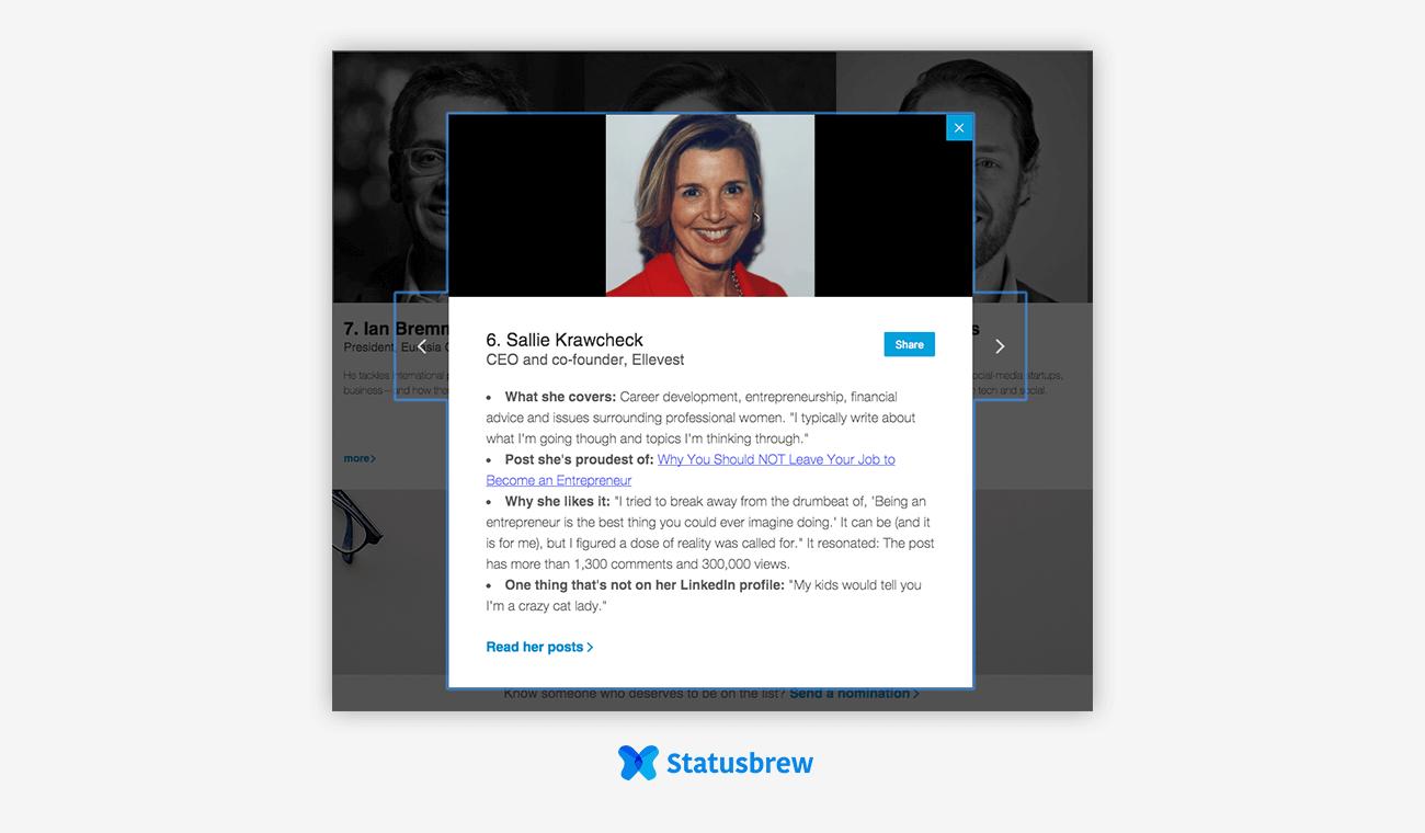LinkedIn influencer Sallie Krawcheck