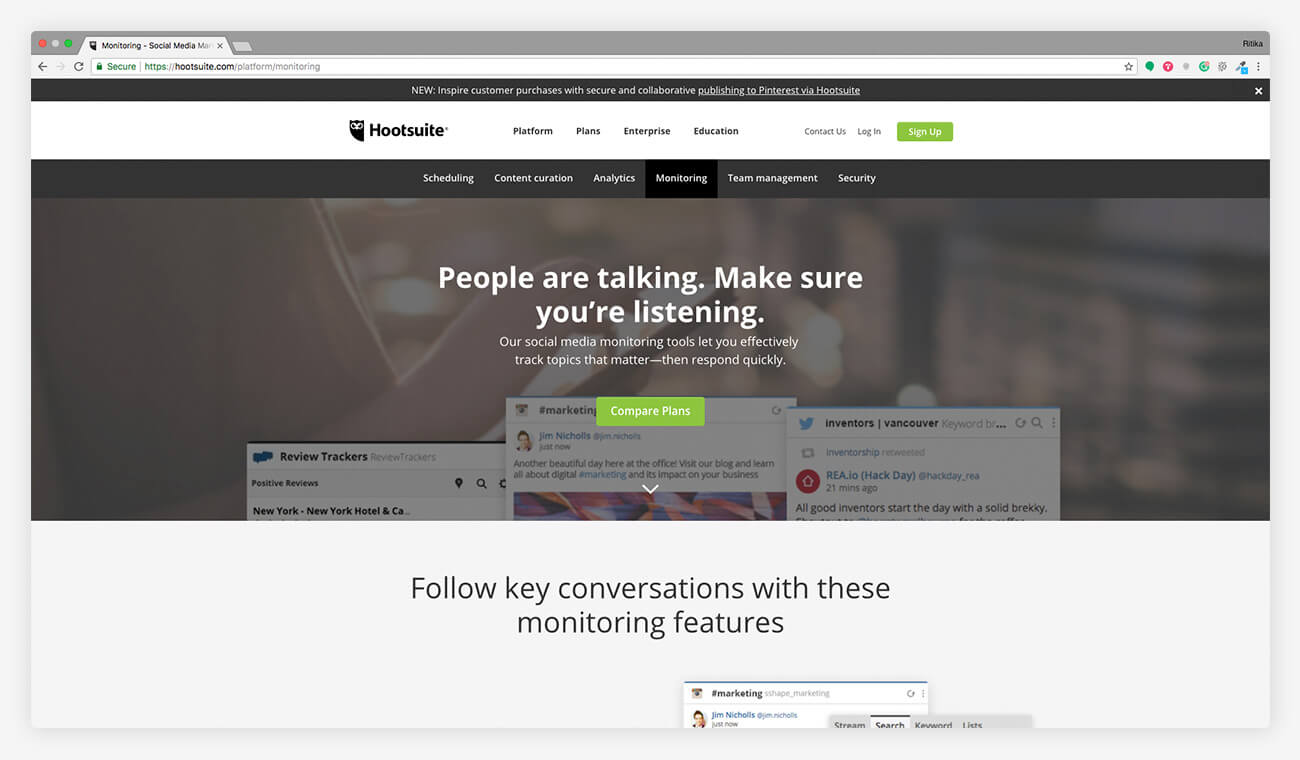 Hootsuite social media monitoring tool