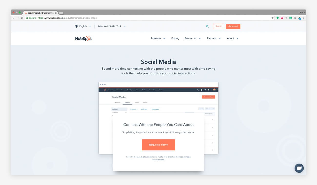 Hubspot social media monitoring tool