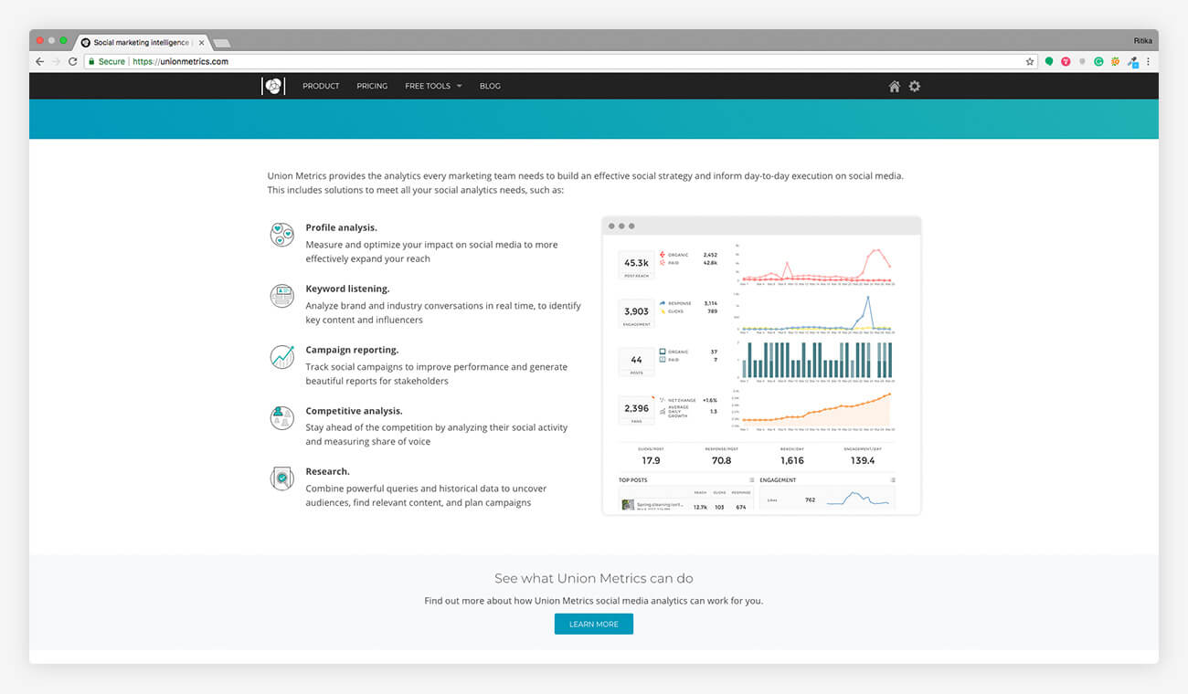 union metrics Social Media Monitoring Tool