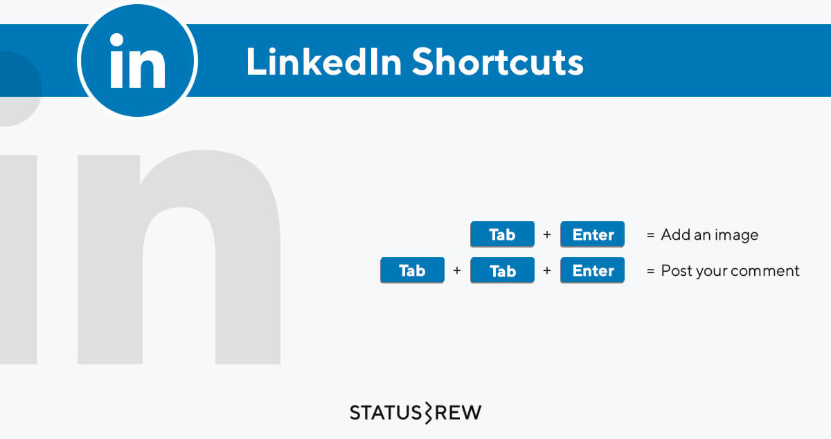 LinkedIn Keyboard Shortcuts Infographic