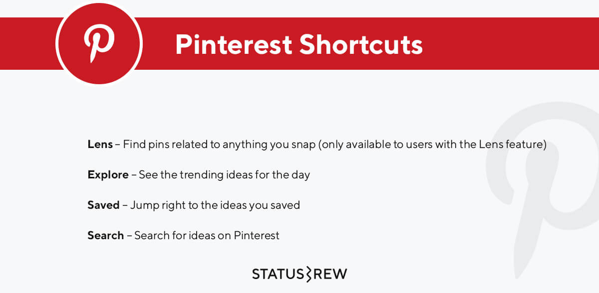 Pinterest Keyboard Shortcuts Infographic