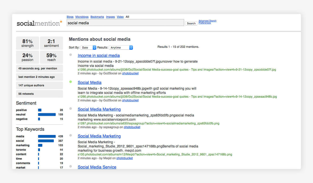socialmention Social Media Monitoring Software