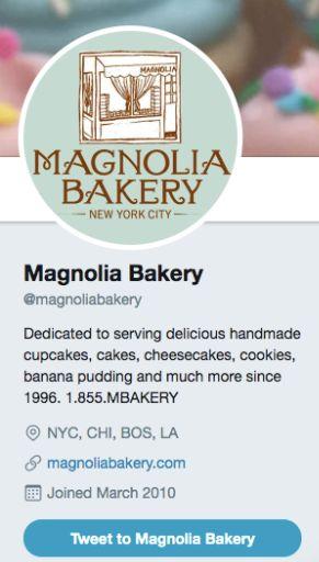 Magnolia Bakery Instagram Bio