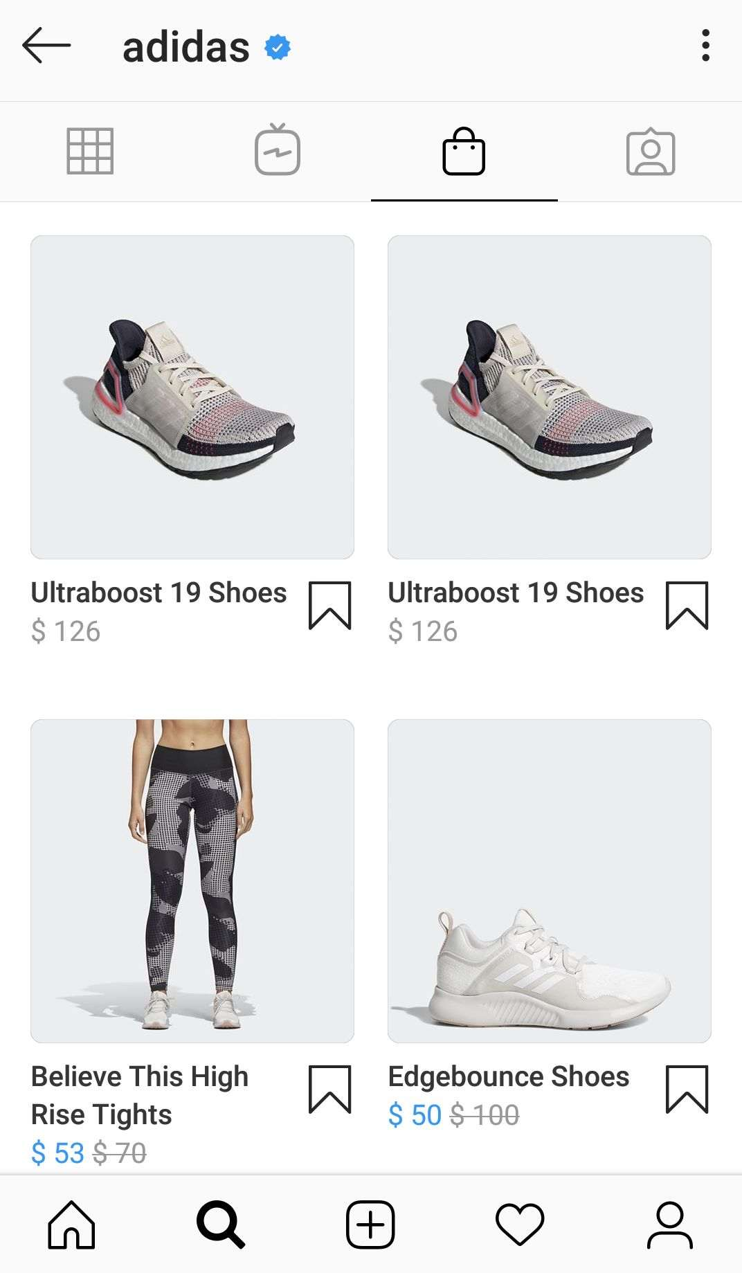 Adidas shoppable posts