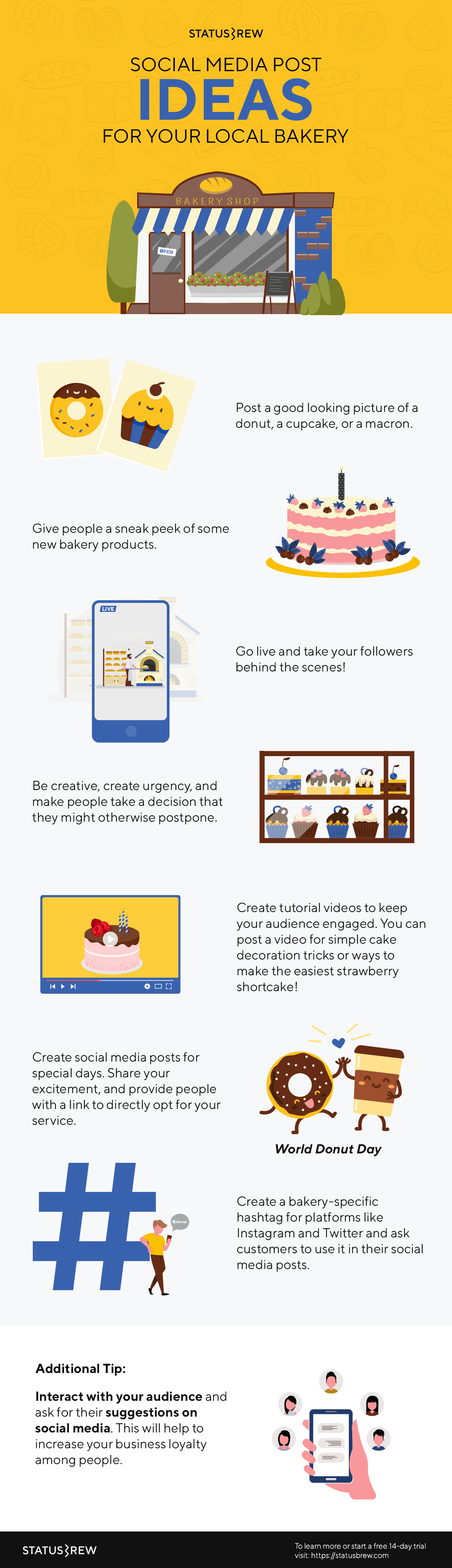 A Complete Social Media Guide For Bakeries Restaurants Infographic Statusbrew