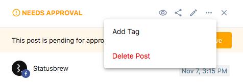 Add Tag Statusbrew