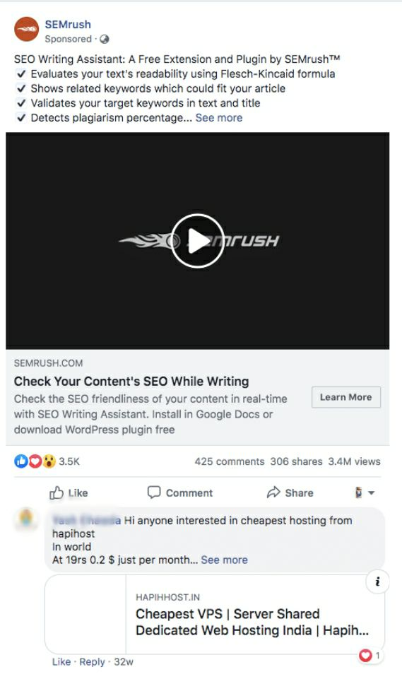 Facebook AD post comments self promotion