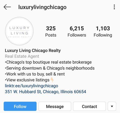 Luxury Living Chicago Instagram bio