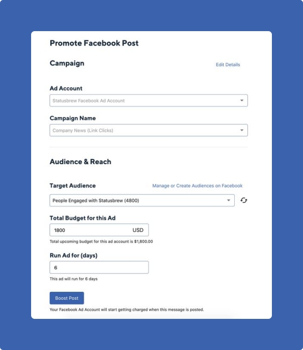 Boost post for facebook in statusbrew composer