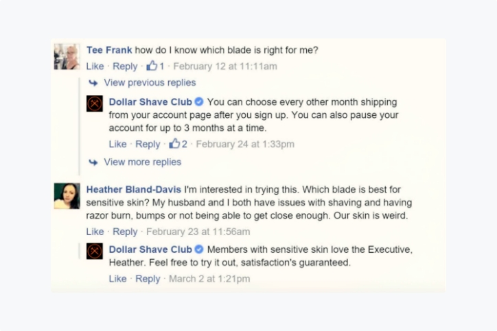 Dollar Shave club engaging with customers over facebook ad comments