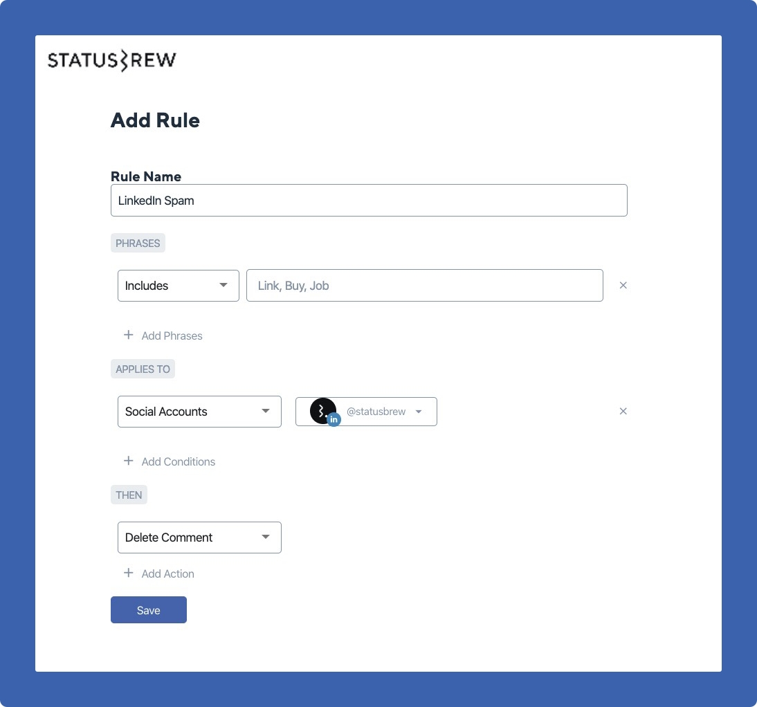 comment moderation on linkedin with statusbrew