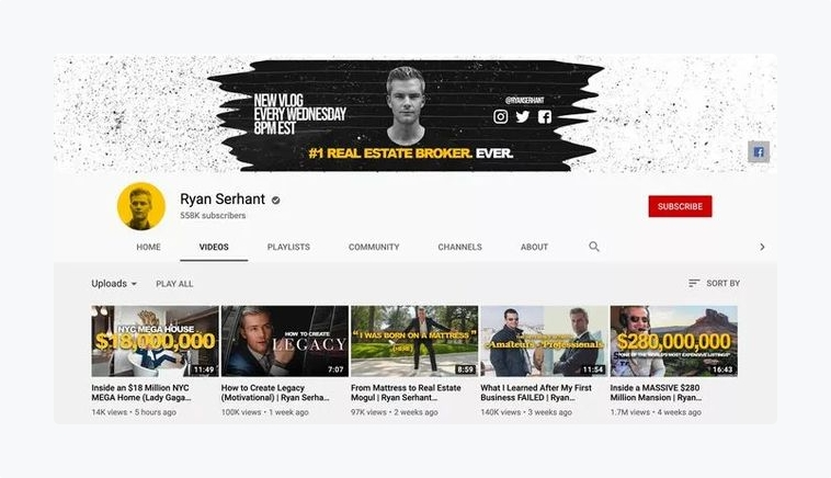 Ryan Serhant Youtube Channel