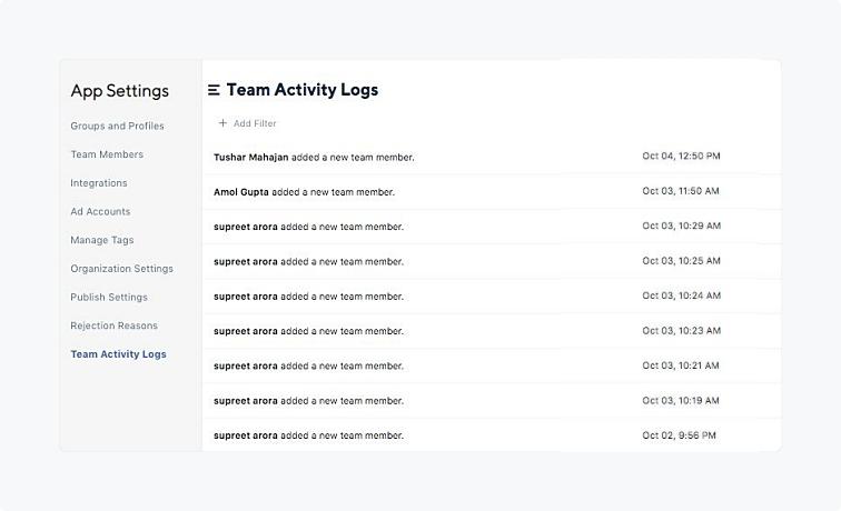 Team Activity Logs