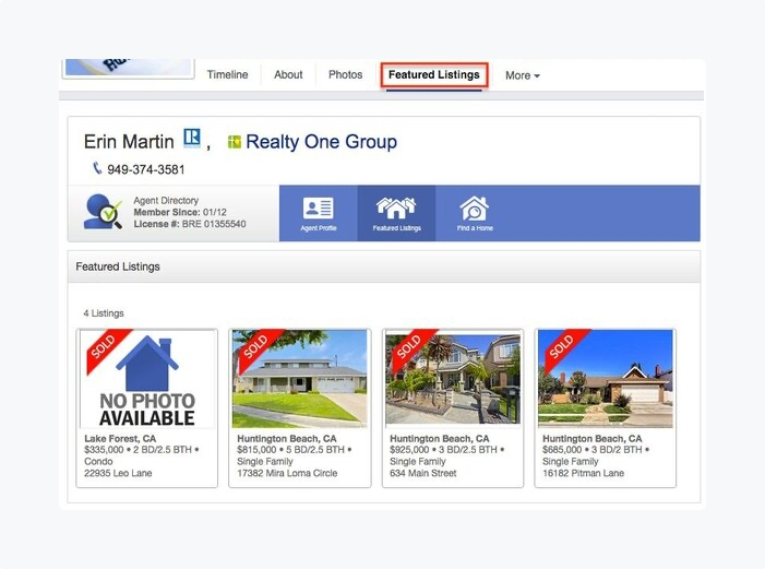 fb page featured listings tab