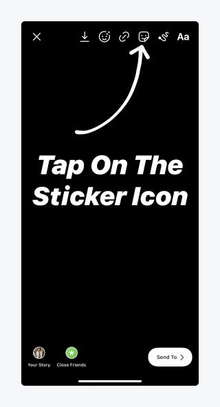 Click on Sticker icon