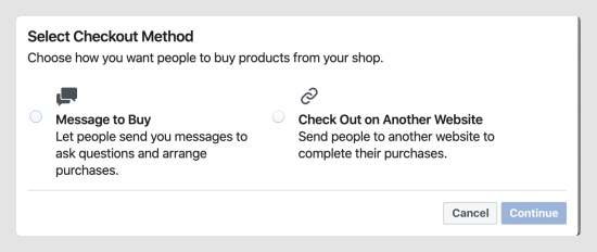select checkout method