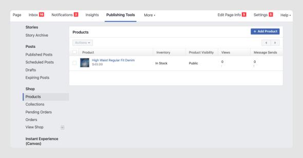 manage Facebook shop