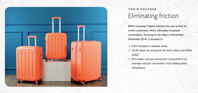 Facebook Mia Luggage success story