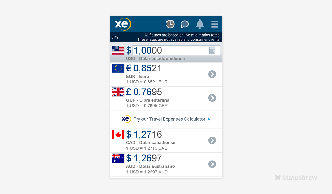 Aplicación XE Currency