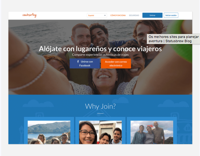 sitio web couchsurfing