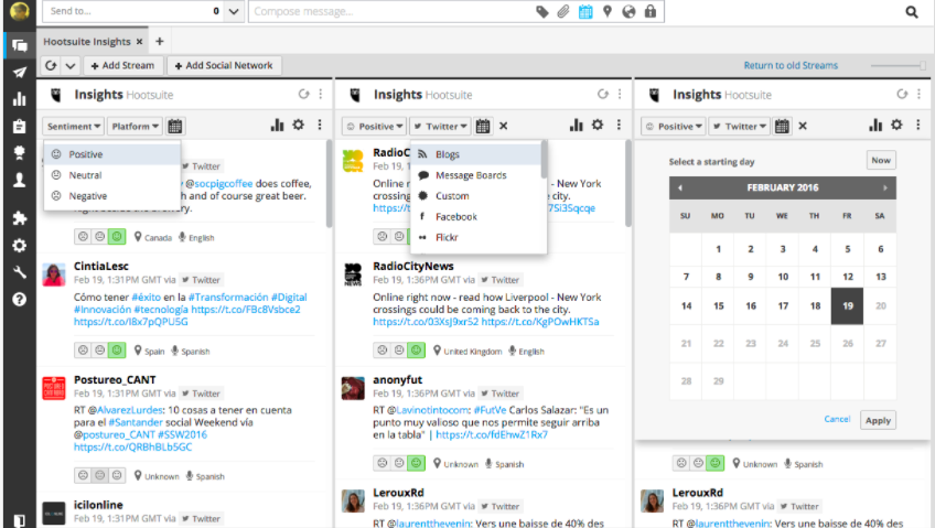 Hootsuite monitoring feature