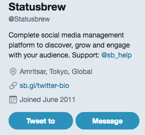Twitter bio of Statusbrew