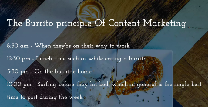 Burrito Principle of Content Marketing for Instagram for Business